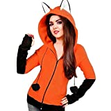 FuweiEncore Moda otoño Invierno Sudadera con Capucha Jumper para Mujer Casual Orejas de Zorro Sudadera de Manga Larga...