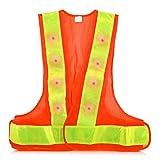kwmobile Chaleco Reflectante Alta Visibilidad - Chaleco de Seguridad Reflector Naranja con luz LED roja - Tiras...