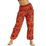 Nuofengkudu Mujer Pantalones Hippies Tailandeses Estampado Verano Cintura Alta Elastica con Bolsillos para Yoga Pants...