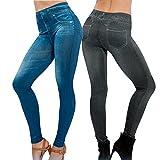 2Pcs Leggings Leggins Jeggings Vaqueros Pantalones Elásticos Azul y Negro para Mujer