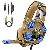 VersionTECH. Auriculares Gaming Cascos PS4 con Microfono, Diadema Ajustable, Bass OverEar 3,5mm Jack, Luz LED, Control...