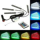 KKmoon Luz Interior Coche con Control Remoto, 4 en 1 Barras Led Coche Interior, Luz de Atmosfera 7 Color RGB