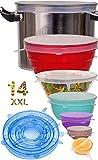 longzon 13 Piezas Tapas Silicona Ajustables,Tapas de Silicona Reutilizables Ecológicas,7 Redondas y 6 Cuadradas de...
