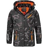 Geographical Norway - Chaqueta Rainman Turbo-Dry para hombre con tejido softshell y capucha negro y naranja M