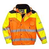 Portwest S464 - Contraste plus chaqueta de bombardero, color naranja, talla Small