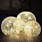 Gadgy ® Luces Bolas de Cristal Craquelado | Ø 8, 10,12 cm | Lamparas Decorativas de Interior | Guirnalda Luz LED...