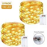 Litogo Guirnalda Luces Pilas, Luces LED Pilas [2 Pack], LED luces decorativas habitacion 10m 100 LED Luces de Cadena...