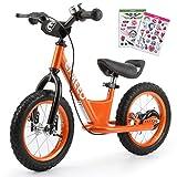 ENKEEO Bicicleta sin Pedales para Niños, Bicicleta de Equilibrio 12 Pulgadas, Asiento Ajustable y Manillares Tapizados...