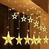 Cadena de luces LED de colores SALCAR de 2 * 1 metros, cortina 12 estrellas de colores para navidad, decoracion de...