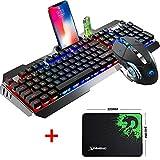 Urchoiceltd Juego De Teclado y Mouse Tecnología M398 Retroiluminación De Teclado Con Cable Keyboard Metal Waterproof +...