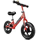 KidoMe 12'' Bici sin Pedales Color Rojo Bicicleta de Blalance Equilibrio Altura Ajustable Acero al Carbono Inoxidable...