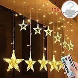 SALCAR Cadena de Luces LED de Colores 2 * 1 Metros, Cortina 12 Estrellas de Colores para Navidad, Decoracion de Fiestas,...