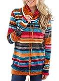 heekpek - Sudadera de manga larga para mujer con bolsillo con cordón de ajuste y capucha, cuello con capucha, cuello...