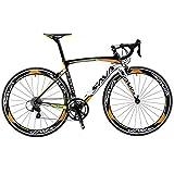 Sava Bicicleta de Carretera de Fibra de Carbono 700C Shimano 5800 22-Velocidad Sistema Bicicleta Urbana Carbono(Negro...