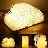 Yuanj Libro Lámpara LED, Luces Plegables de Madera 360°, USB Recargable, Portátil, Luz Lectura/Decorativa, Luz de...