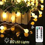 Cadena de Luces, REDU Cadena de Bombillas10m, tipo esferico, resistente al agua, 80 bombillas blancas calidas, adornos...
